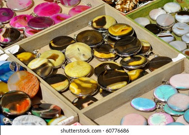 Jewelry in boxes on a market stall