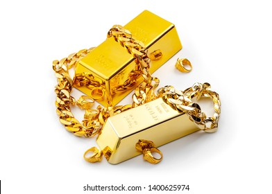 Jewelry buyer, pawn shop and buy and sell precious metals concept theme with a pile of golden rings, necklace bracelet and gold bullion isolated on white background