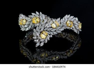 Jewelry diamond bracelet on a black background