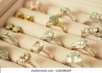Jewelry diamond rings and earrings in box