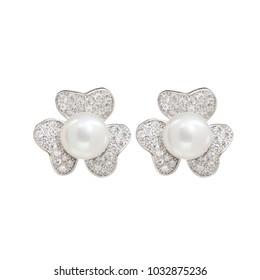Jewelry earrings with diamond jeweled