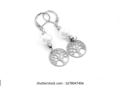 Jewelry earrings. OEM product. Stainless steel. One color background