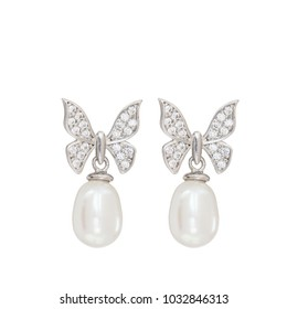 Jewelry in the form of a butterfly with pearls