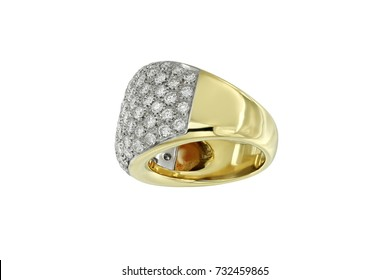 Jewelry gold ring with mesh of diamonds isolated on white background