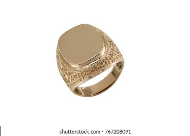 Jewelry gold signet ring with diamond isolated on white background