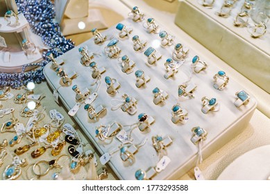 Jewelry made of natural rare stone larimar silver endemic to Dominican Republic.