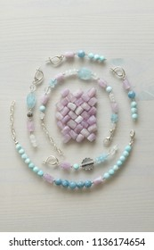 Jewelry made of natural stones and silver. Aquamarine, larimar, kunzite, moonstone. Handmade Asymmetric jewelry. Bracelets and earrings made of natural stones.