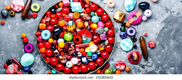 Jewelry making.Variety of shapes and colors to make bead necklace