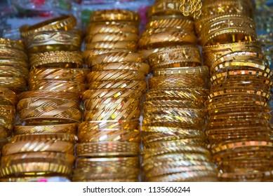 jewelry at market stall in bazar in sanliurfa, turkey