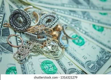 Jewelry and money, banknote dollar. concept of pawnshop.