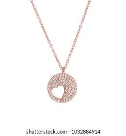 Jewelry necklace with diamond jeweled
