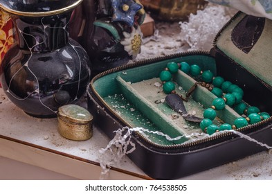 jewelry objects in abandoned old house