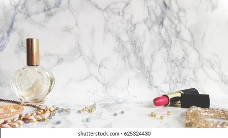 Jewelry on a marble background