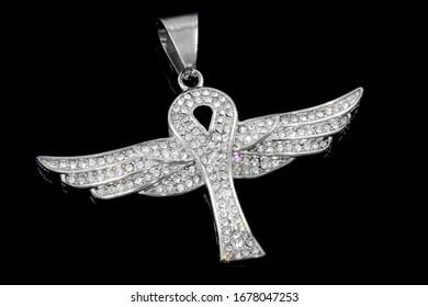 Jewelry pendant. Angel necklace symbol. OEM product photo. Stainless steel. One color background