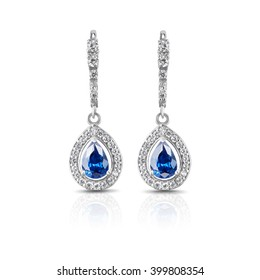 Jewelry. Silver earrings with sapphires