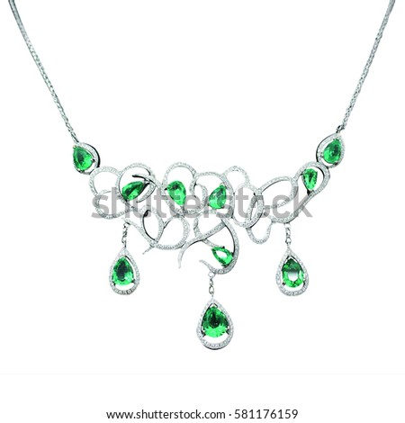 Jewelry Silver Necklace Green Sapphires Stock Photo (Edit