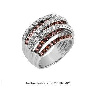 Jewelry solver ring with red stone isolated on white background