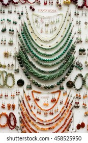 jewelry and souvenirs made of stone Green and  Carneol
