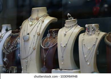 Jewelry store in old Turkish bazaar in Skopje, White gold, silver & turquoise jewlery