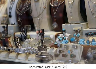 Jewelry store in old Turkish bazaar in Skopje, White gold, silver & turquoise jewlery