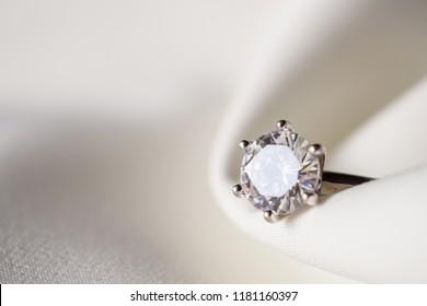 Jewelry wedding diamond ring close up