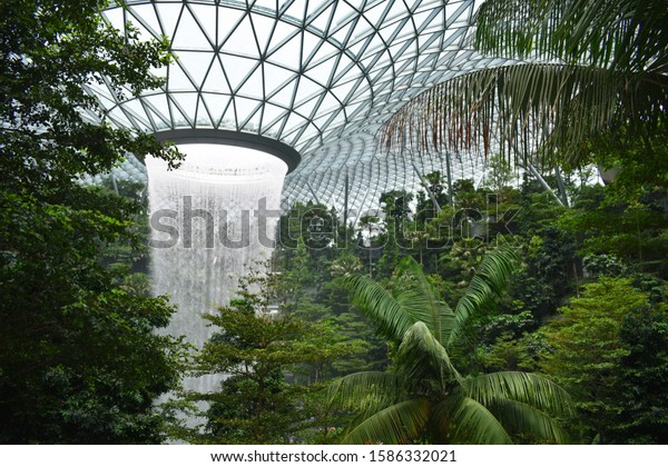jewels indoor waterfall, Singapore Asia, 15th August 2019: beautiful view of largest indoor waterfall
