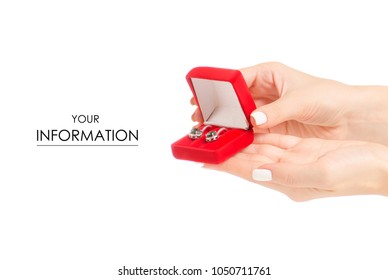Jewerly red box with earrings in hand pattern on white background isolation