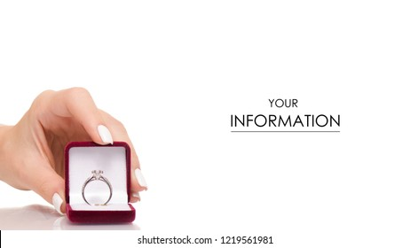 Jewerly red box with ring in hand pattern on white background isolation