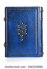 Jewish blue leather book with the tree of life symbol on the front cover and right to left reading