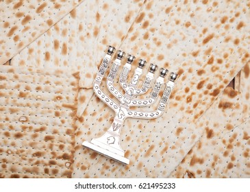 Jewish bread - matza with candlestick - menorah