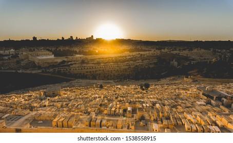 Jewish cemeteries sunset view at Jerusalem