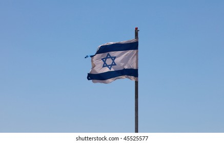 The Jewish flag fluttering on the house