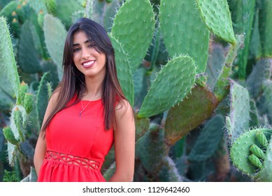 Jewish Girl with a red dress, in plantation of prickly pears.Hebrew word for the prickly pear,sabra,a thorny fruit with a prickly skin and sweet interior, that lent Israelis their national nickname.