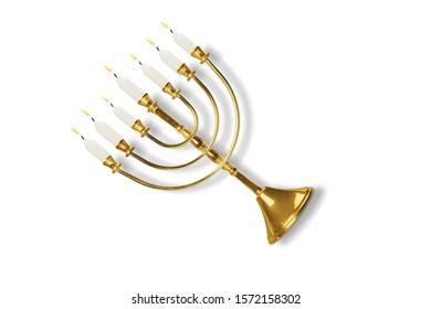 Jewish Hanukkah menorah on white background