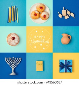 Jewish holiday Hanukkah banner design with menorah, gift box, dreidel and sufganiyot. View from above. Flat lay