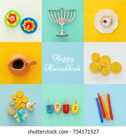 jewish holiday Hanukkah collage background with traditional menorah (traditional candelabra) and doughnut.