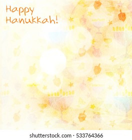 Jewish Holiday Hanukkah, festive background, poster with the wishes of a happy Hanukkah.