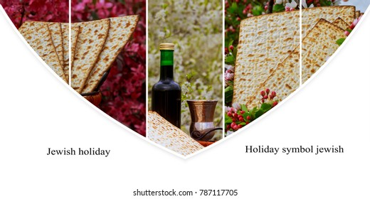 Jewish holiday Passover concept with matzah, seder plate and wine glass on white table background. Collage from different pictures