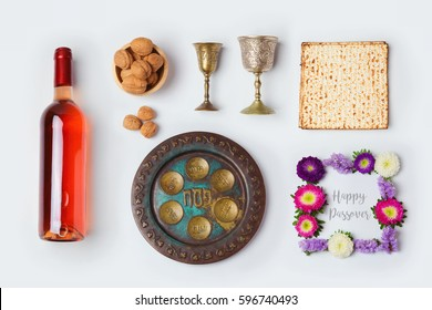 Jewish holiday Passover objects for mock up template design. View from above. Flat lay