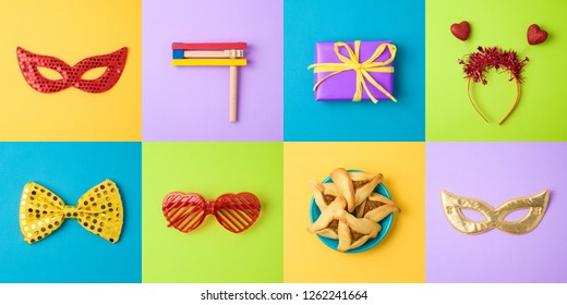 Jewish holiday Purim background with carnival mask, hamantaschen cookies and noisemaker. Minimal concept. Top view from above