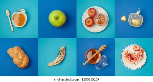 Jewish holiday Rosh Hashanah concept with honey, apple and pomegranate. View from above. Flat lay
