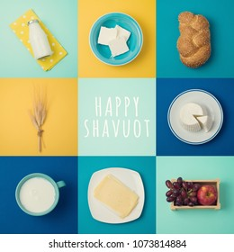 Jewish holiday Shavuot concept with milk and dairy products. View from above. Flat lay