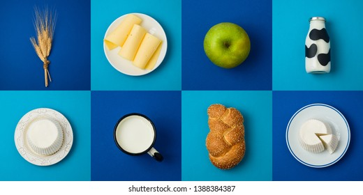 Jewish holiday Shavuot concept with milk, dairy products and fruits. Top view from above