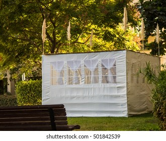 Jewish Holiday Sukkot . A sukkah is a temporary hut constructed for use during the week-long Jewish festival of Sukkot.