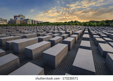 Jewish Holocaust Memorial museum and Berlin city skyline when sunset, Berlin, Germany