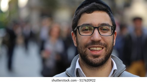 Jewish man in city street face portrait