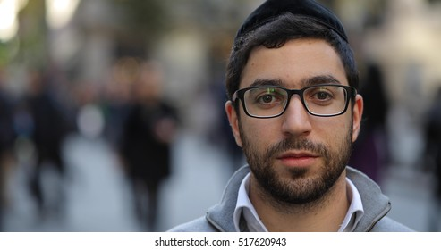 Jewish man in city street face portrait