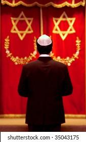 Jewish man at temple