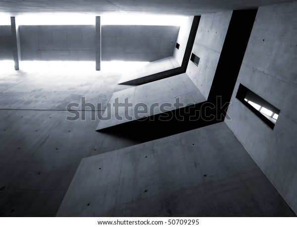 Jewish museum interior detail, a section of the Void, Berlin, Germany, project of the architect Daniel Libeskind