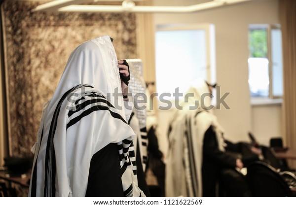 Jewish Orthodox Man Wrapped Prayer Shawl Stock Photo (Edit